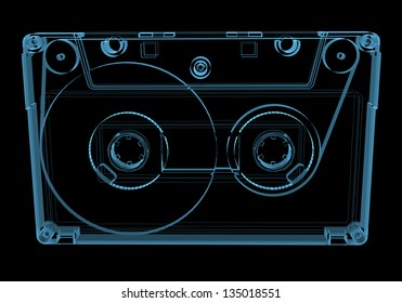 Audio cassette tape (3D xray blue transparent isolated on black background)
