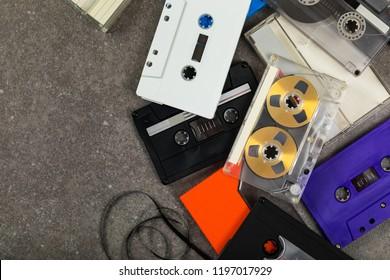 Audio Cassette Tape Background. Selective focus.