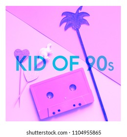 Audio cassette tape, dinosaur figure, palm and text Kid of 90s. Millennials concept art collage in pink colors