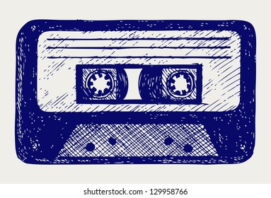 Audio cassette tape. Doodle style. Raster version