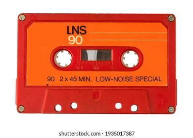 Audio cassette tape isolated old music retro player. Retro music audio cassette 80s.