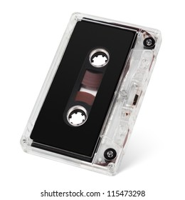 Audio cassette tape isolated on white with clipping path