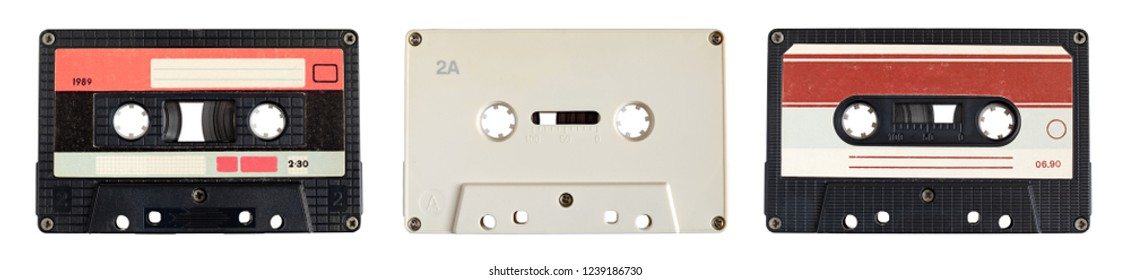 Audio cassette tape isolated on white, three in a row