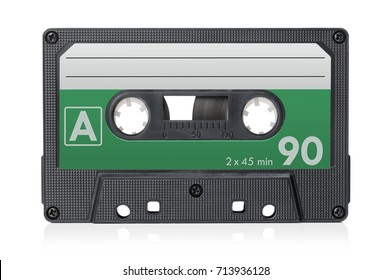Audio cassette tape isolated on a white background.