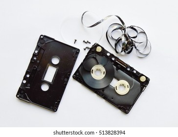 audio cassette tape separate parts on white background
