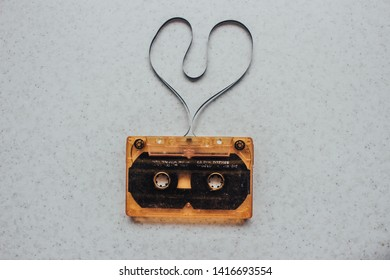 audio cassette tape shape heart. Magnetic tape in the form of a heart