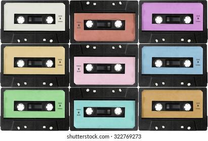 Audio cassettes. retro background