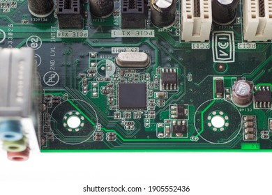 audio chip located on the green motherboard of the computer