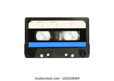 Audio compact cassette. Analog tape format for audio playing and recording. Audio cassette with blue line isolated on a white background.