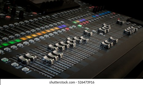 The audio equipment, control panel of digital studio mixer. Close-up, selected focus