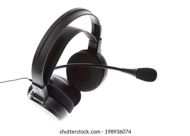 audio microphone headphones isolated on white background