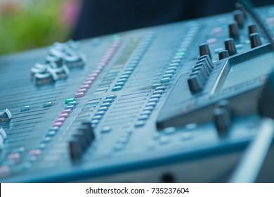 Audio mixer control panel, sound recording studio