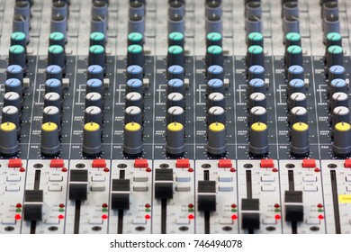 Audio Mixer Control Panel (Sound Board) with adjusted slide bar