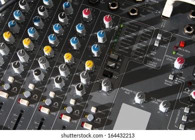 Audio mixer equipment in studio