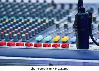 Audio mixer, music equipment in a live concert