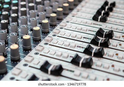 Audio mixers used in sound recording and reproduction. A close view of sound mixer.