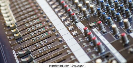 Audio mixing console panel, closer view.