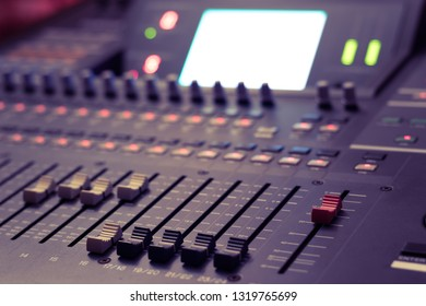 audio mixing console. recording, broadcasting, editing, post production concept