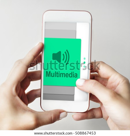 Audio Podcast Music Multimedia Broadcast Concept Stock Photo (Edit
