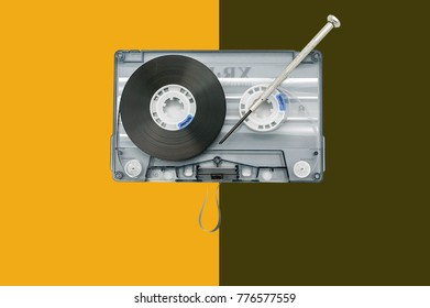 Audio retro cassette illustration on a double background.