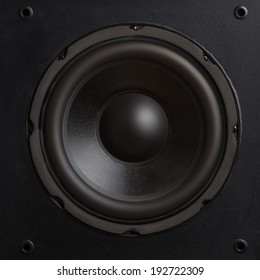 Audio speaker. Subwoofer close-up