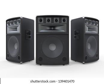 Audio Speakers Isolated on White Background