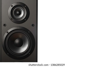 Audio speakers on white background. High quality loudspeakers
