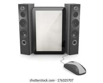 Audio speakers, tablet and computer mouse