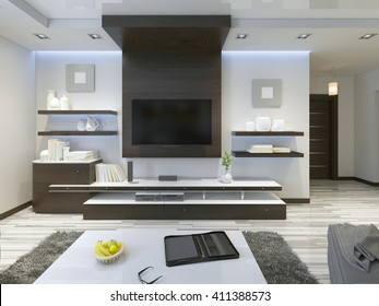 Audio system with TV and shelves in the living room Contemporary style. Wood veneering furniture in brown with decorative panels. 3D render.
