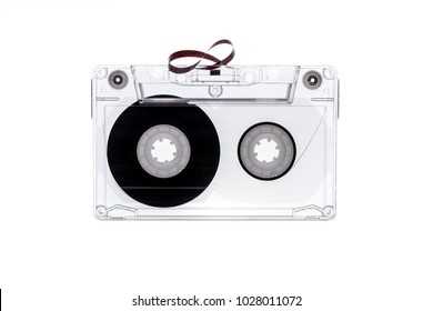 Audio tape cassette isolated on white background. Tape cassette.