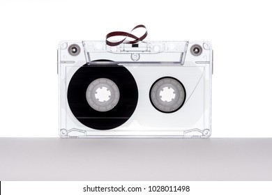 Audio tape cassette on white background. Tape cassette.