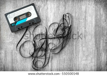 audio tape rolled out background audiotape wood vintage unroll compact cassette playlist musicassette