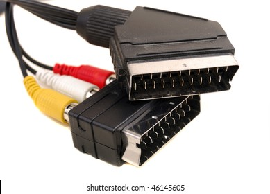 audio video rca a cable on a white background