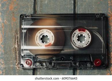 Audiocassette on vintage background