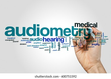 Audiometry word cloud concept on grey background.