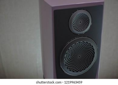 audiophile bookshelf speakers in a purple color