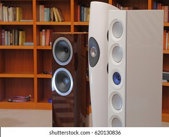 Audiophile HiFi speakers in the listening room.