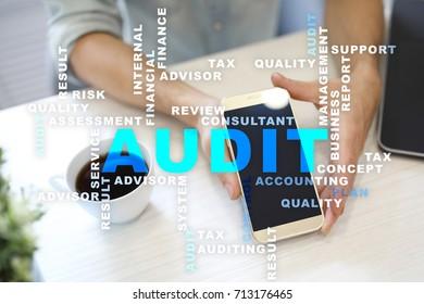 Audit business concept. Auditor. Compliance. Virtual screen technology. Words cloud.