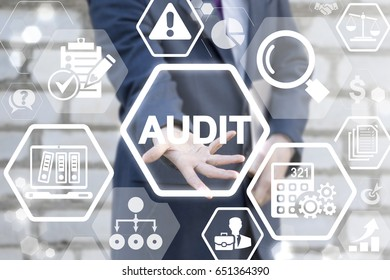 Audit Business Finance Concept. Verification of compliance with rules, regulations and laws in the company, office. Internal Revision Work. Auditor offers AUDIT word icon on virtual screen.