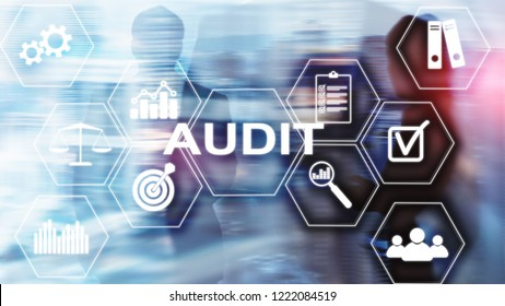 Audit Conduct an official financial examination of individuals or organizations accounts. Business concept on virtual screen.