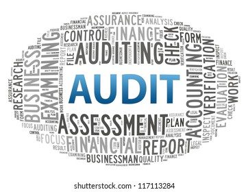 Audit info-text graphics and arrangement concept on white background