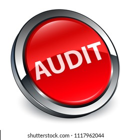 Audit isolated on 3d red round button abstract illustration