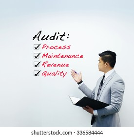 Audit list, business concept