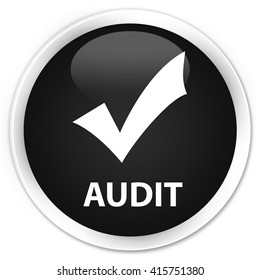 Audit (validate icon) black glossy round button