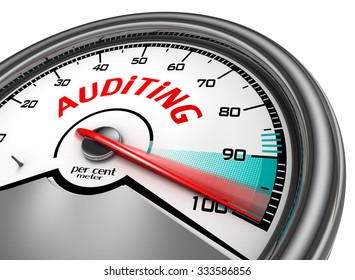 Auditing level hundred per cent conceptual meter, isolated on white background
