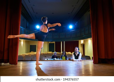Audition with young dancer on stage, doing exam in theatre and dancing for director and staff