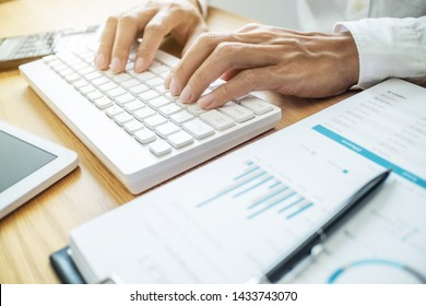 auditor or financial inspector working on business report