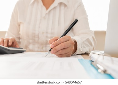 Auditor or internal revenue service staff checking annual financial statements of company. Concept of Audit , Planning budget.
