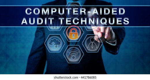 Auditor is pushing COMPUTER-AIDED AUDIT TECHNIQUES on a virtual interactive control monitor. Business risk metaphor. Concept for information technology audit, data analysis software and simply CAATs.