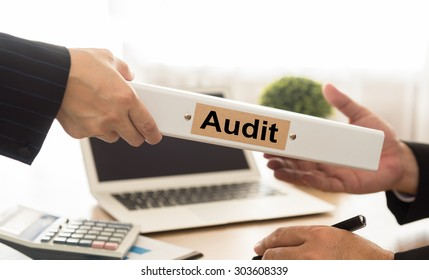 Auditor sends file audited financial statements of the Company to executives. Audit concept.